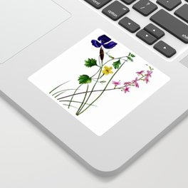 Vintage Wildflowers Yellow Purple and Pink Sticker