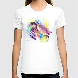 Sea Turtle in Coral Reef, tropical colors sea world purple yellow blue turtle art, turtle illustrati T-shirt