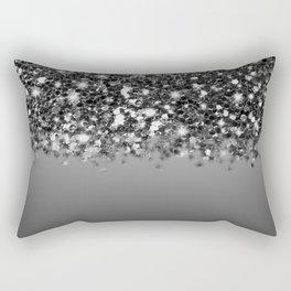 Black & Gunmetal Gray Silver Glitter Ombre Rectangular Pillow