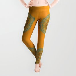 Growing - hypericum - plant cell embroidery Leggings