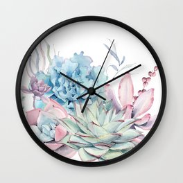 Pretty Pastel Succulents Wall Clock