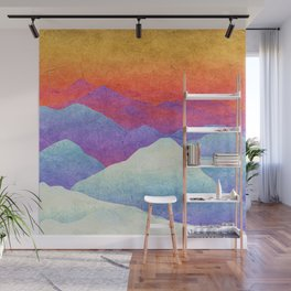 Hilly Lands - rainbow-colored Wall Mural