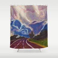 road Shower Curtains featuring Road by Shazia Ahmad