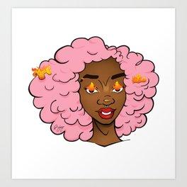 Edda • Black Girl Magic • cotton candy afro • Melaninated Girl Power Art Print