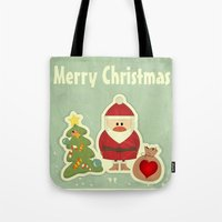 merry christmas Tote Bags featuring Merry Christmas by Cs025