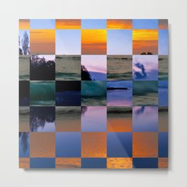 Puzzle of squares with two landscapes Metal Print