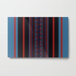 Checkered Ethnic Mosaic Pattern Metal Print
