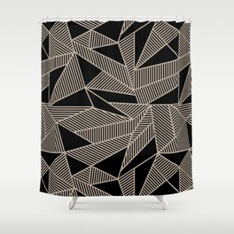 Geometric Abstract Origami Inspired Pattern Shower Curtain