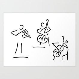 violinist cellist string player contrabass Art Print