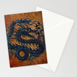 Blue Chinese Dragon on Stone Background Stationery Cards