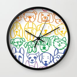 "Rainbow Dogs (Sibling to ""Rainbow Cats"") Wall Clock"