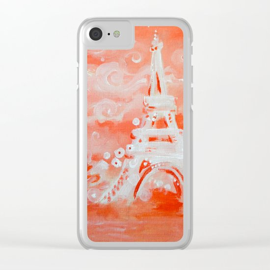 Paris Pink Clear iPhone Case