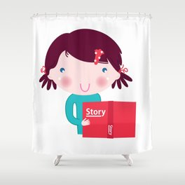 Cute beautiful girl with book isolated on white Shower Curtain