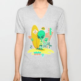 Alien Surfer Nineties Pattern Unisex V-Neck