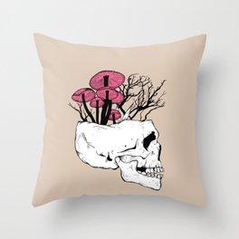 Fungi Skull Throw Pillow