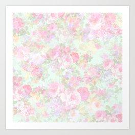 Modern vintage blush pink green country chic floral Art Print