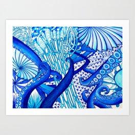 Blue Sploodge  Art Print