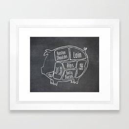 Pork Butcher Diagram (Pig Meat Chart) Framed Art Print