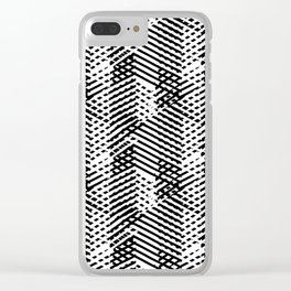 Pattern with lines and overlapping triangles in black and white Clear iPhone Case