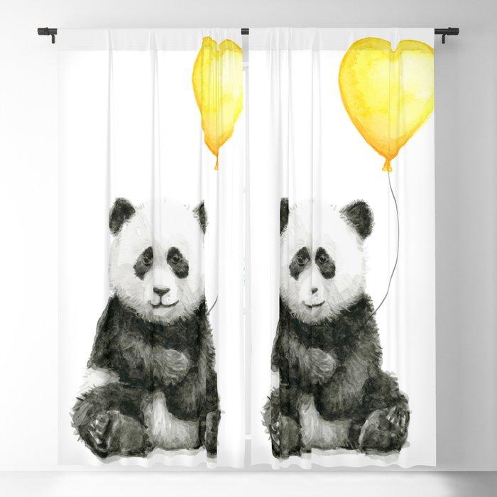 Panda with Yellow Balloon Baby Animal Watercolor Nursery Art Blackout Curtain