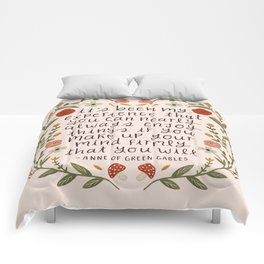 "Anne of Green Gables ""Enjoy Things"" Quote Comforters"