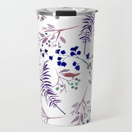 Watercolor navy blue pink tropical berries floral Travel Mug