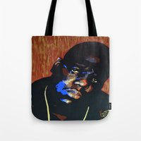biggie smalls Tote Bags featuring Biggie Smalls (Notorious BIG) Pop Art by KatCaiArt
