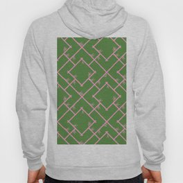 Bamboo Chinoiserie Lattice in Green + Pink Hoody