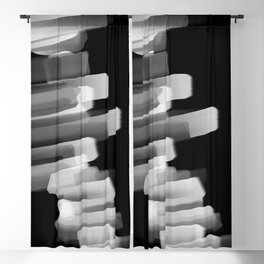 Stairs of Light - Black and White Blackout Curtain