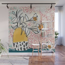 Yellow and Fushia Vase and Flowers Wall Mural