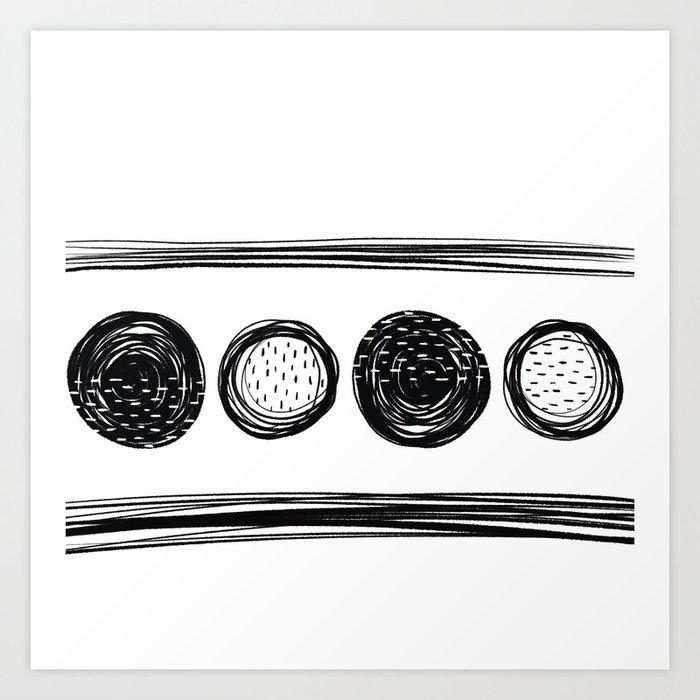Black White One Art Print
