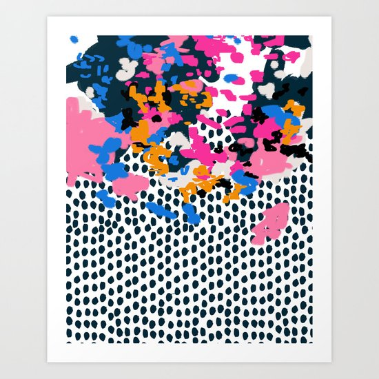 Kenzi - Flowers with Dots - Floral Abstract, graphic design print pattern Art Print