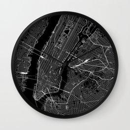 New York City Black Map Wall Clock