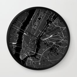New York City Black Map Wall Clock