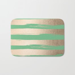 Painted Stripes Gold Tropical Green Bath Mat