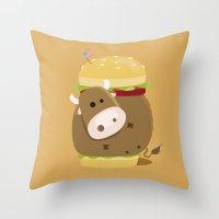 burger Throw Pillows featuring Burger by vainuidecastelbajac