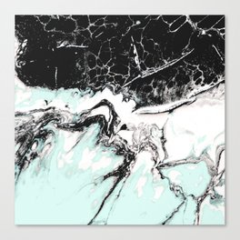 mint black and white marble Canvas Print