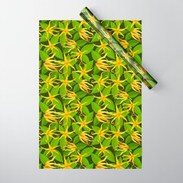 Ylang Ylang Exotic Scented Flowers and Leaves Pattern Wrapping Paper