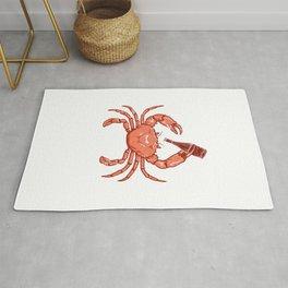 Crab Drinking Beer Rug