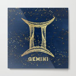 Gemini Zodiac Sign Metal Print