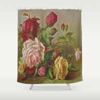 vintage flowers Shower Curtains featuring Vintage Flowers by Lucia