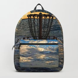 Disc Golf Basket Chesapeake Bay Virginia Beach Ocean Sunset Backpack