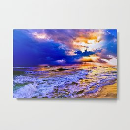 blue seascape art print 2 Metal Print
