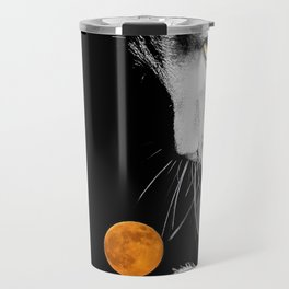 Silver Cat and Moon Travel Mug