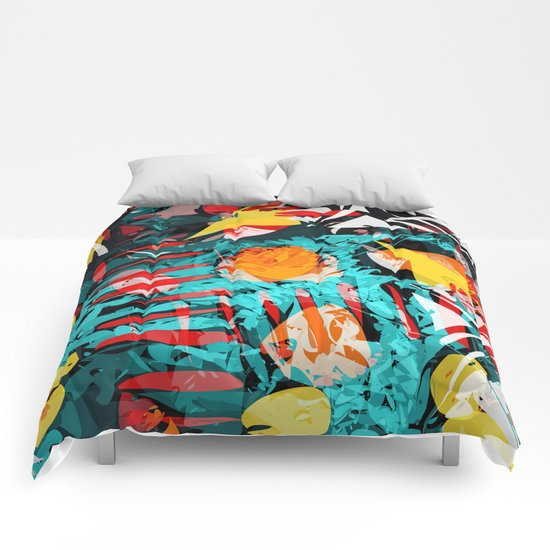 abstract colored chaos Comforters