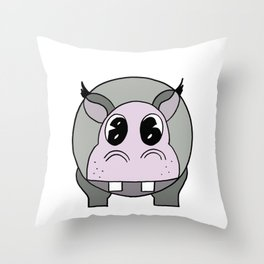 Happy Hippo drawing Throw Pillow