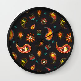 Exclusive decor for homes paisley pattern with colorful elements Wall Clock