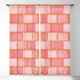 Blush Pink, Rose and Gold Watercolor Subway Tiles Blackout Curtain