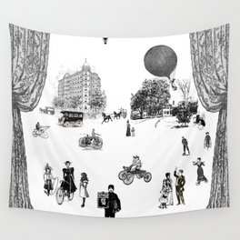 city view from window in 1898 vintage Victorian Wall Tapestry