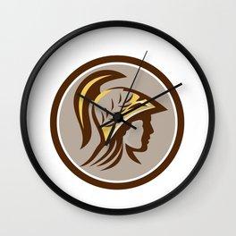 Minerva Head Helmet Circle Retro Wall Clock